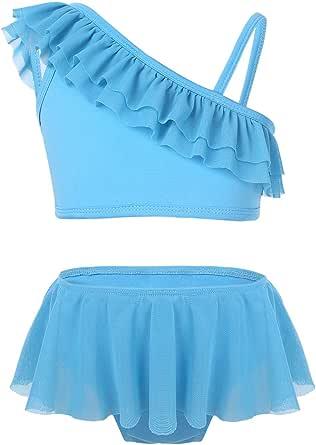 FEESHOW Kids Girls Two Piece Tankini Swimsuit Ruffle One-shoulder Swimwear Bathing Suit Set