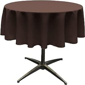 "LA Linen Polyester Poplin Round Tablecloth, 58"", Brown"