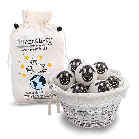 FRIENDSHEEP bolas secador de lana orgánica Eco - Pack 6-100% hecho a mano, Feria comercial, orgánica, sin pelusa - calidad: Amazon.es: Hogar