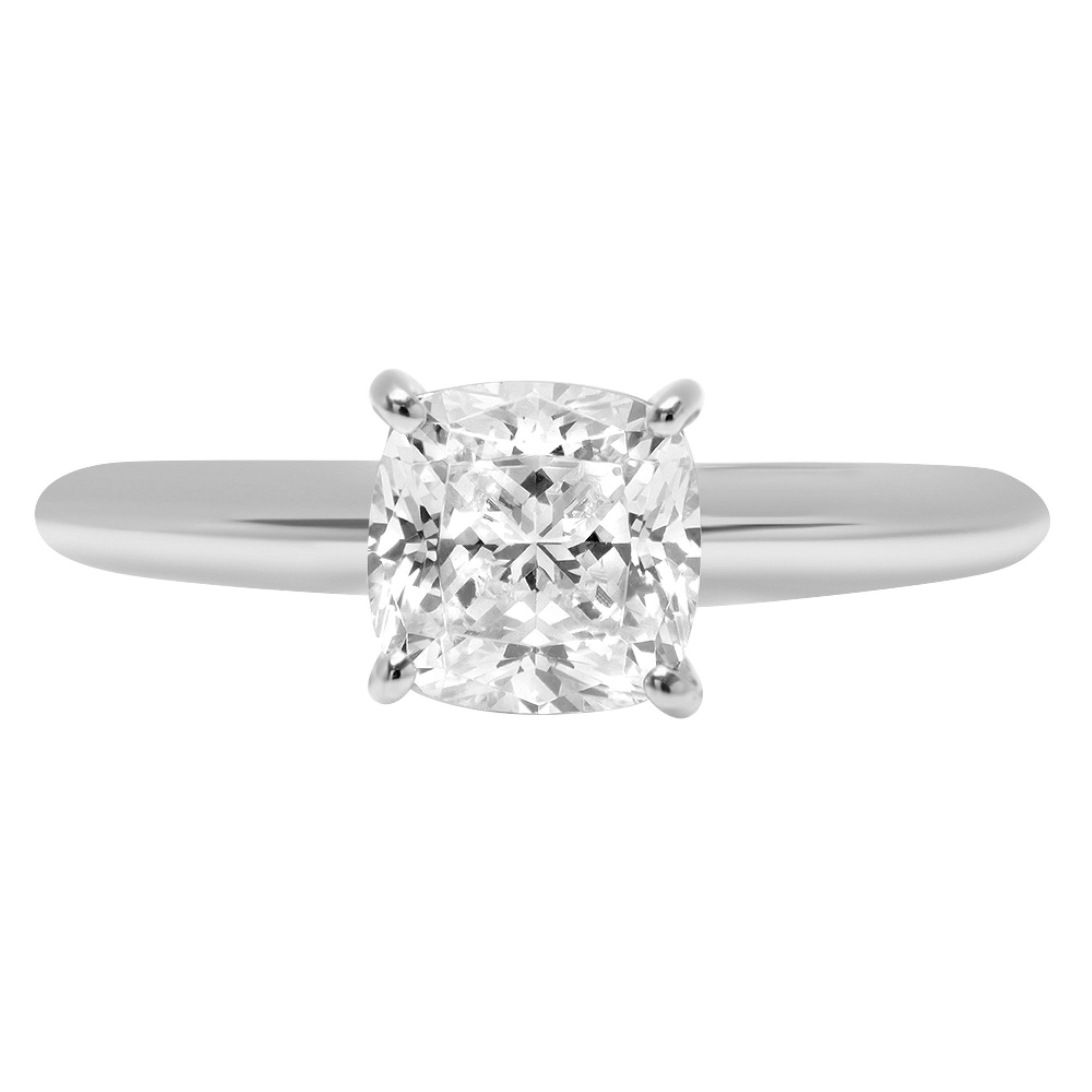 1.50 ct Brilliant Cushion Cut Solitaire Highest Quality Moissanite Ideal VVS1 D 4-Prong Engagement Wedding Bridal Promise Anniversary Ring in Solid Real 14k White Gold for Women, Size 8