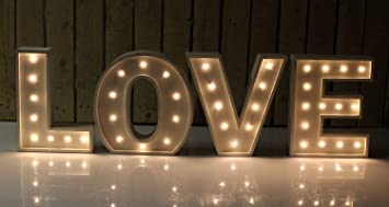 large vintage style 24cm carnival led light up marquee letters love white