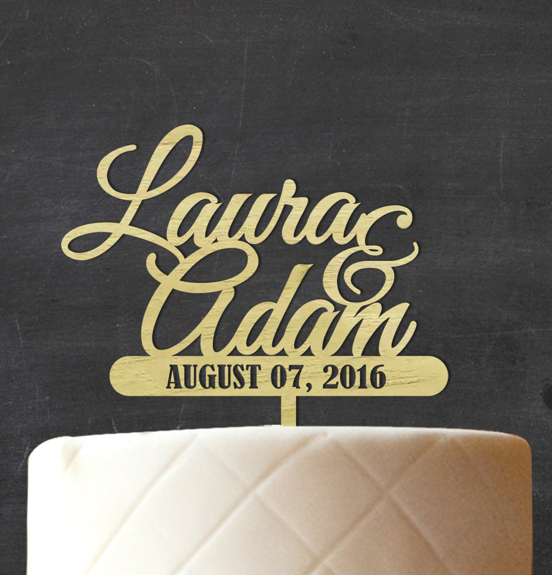 Darling Souvenir Custom Wedding Wood Engraved Cake Topper Persoanlized Names Cake Topper Cake Decoration 7''-8'' Inches Wide