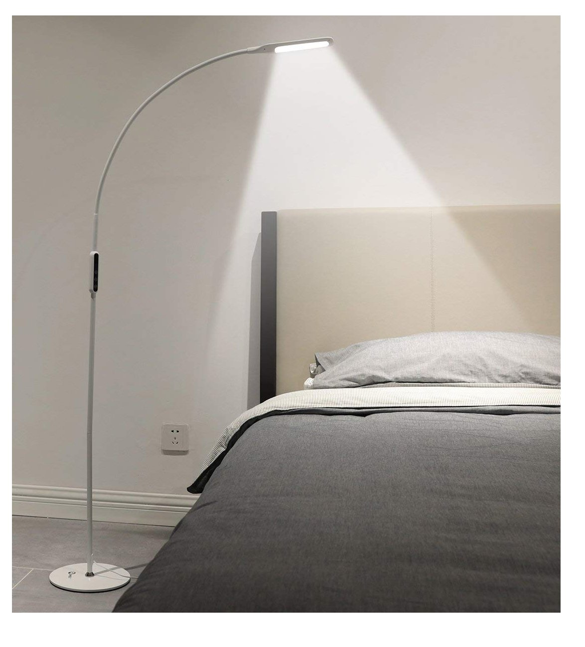 IMIGY Dimmable 9W Floor Lamp, Office/Work/Living Room Reading Flexible Gooseneck Light with Touch and Remote Control, 5-Level Brightness and Color Temperature Dimmable Eye-Care Technology Light, White by IMIGY
