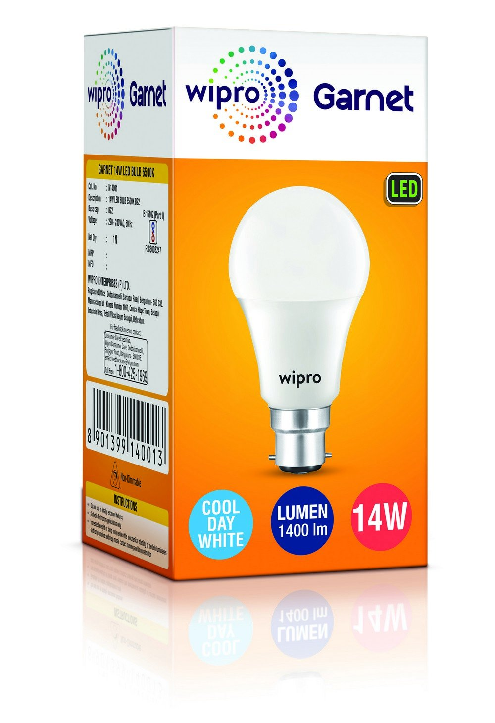 Buy Wipro Garnet 14 Watt Led Bulb Cool Day Light Online At Low 18 W Cfl Circuit Diagram Prices In India