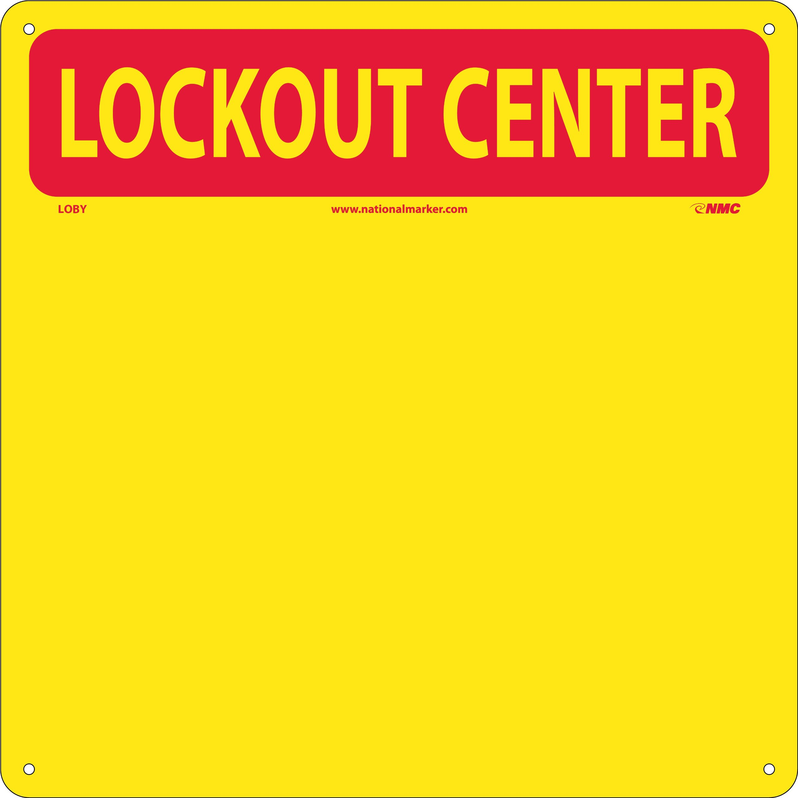 NMC LOBY Lockout Tagout Center Kit with Hooks, 14'' Width x 14'' Height, Red on Yellow