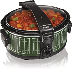 Hamilton Beach Stay or Go Portable Crock Pot, Discontinued, 6-Quart, Green/White