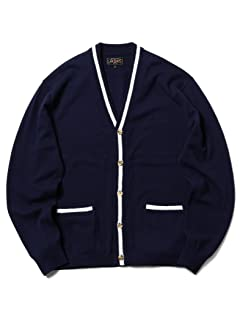 Wool Tipped V-neck Cardigan 11-15-1039-048: Navy