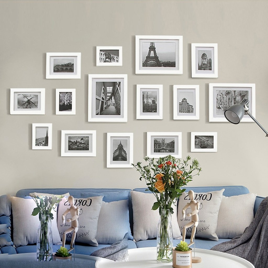Color Gray Photo Frames Set Photo Wall Fashion Living Room Solid