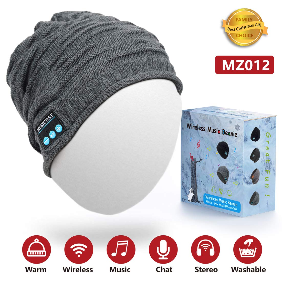 Novelty Bluetooth Knitted Cap Wireless Sport Headset Hat Call Music Stereo Headphone Caps Colorful Hats For Christmas Gift Consumer Electronics