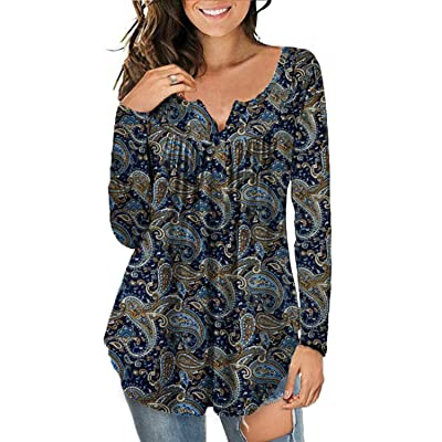 a.Jesdani Women's Plus Size Tunic Tops Long Sleeve Casual Floral Henley Shirt at Amazon Women's Clothing store