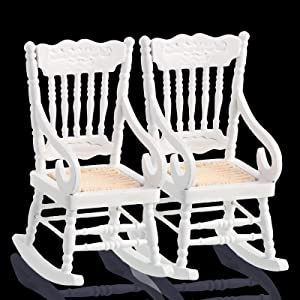 Jetec Doll House Wooden Chairs 1:12 Scale Christmas Dollhouse Model Chairs Mini Dollhouse Wooden Rocking Chairs for Doll House Decoration Dollhouse Accessories Furniture, 2 Pieces