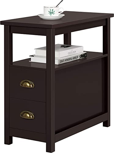 Topeakmart Chairside Table with 2 Drawer and Open Storage Shelf Narrow Nightstand for Living Room, Espresso, Rustic