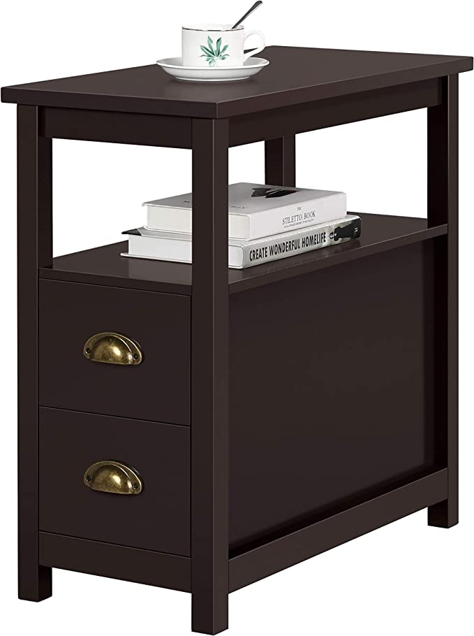Topeakmart Chairside Table With 2 Drawer And Open Storage Shelf Narrow Nightstand For Living Room Espresso Rustic Home Kitchen Amazon Com