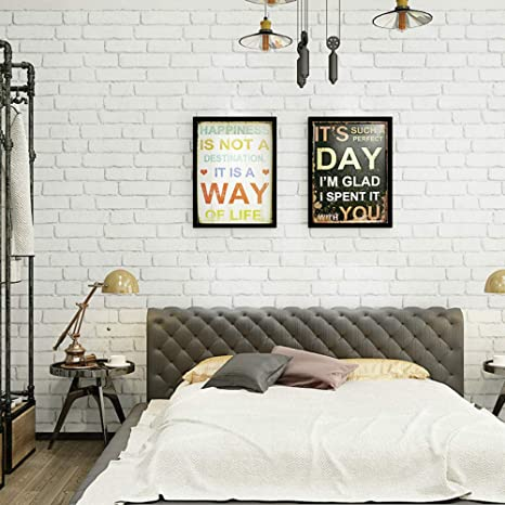 NK HOME Peel and Stick 3D Wall Stickers Panels White Brick Wallpaper Modern  Wall Background for TV Walls Sofa Background Bedroom Living Room Décor
