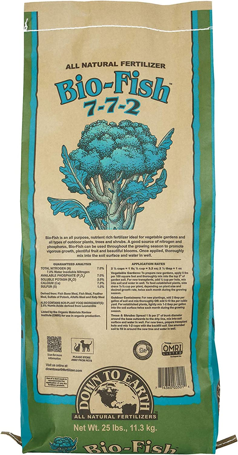 Down to Earth Organic Bio-Fish Fertilizer Mix 7-7-2, 25 lb