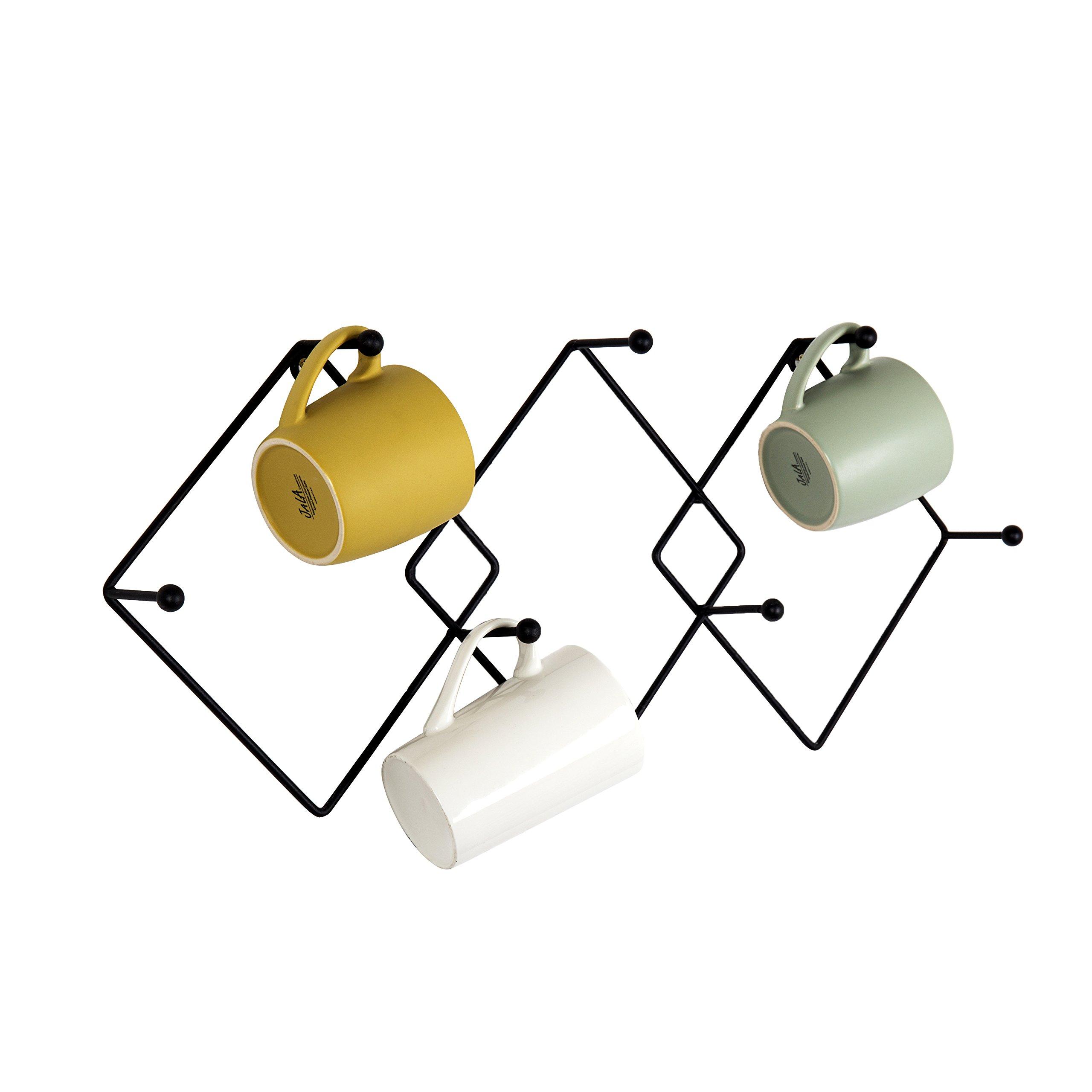 Wall Mounted Geometric Argyle-Pattern 7-Hook Metal Mug Storage Rack, Kitchen Cup Organizer, Black