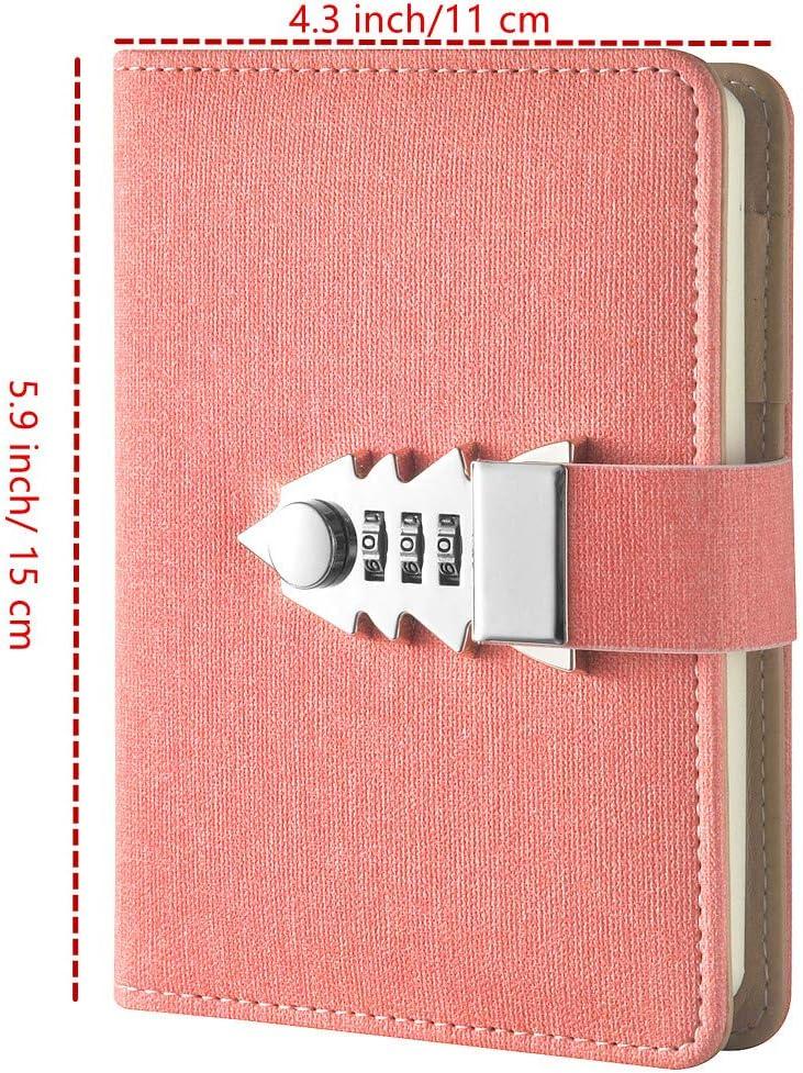 JunShop A7 Mini-Tagebuch mit Schloss blau