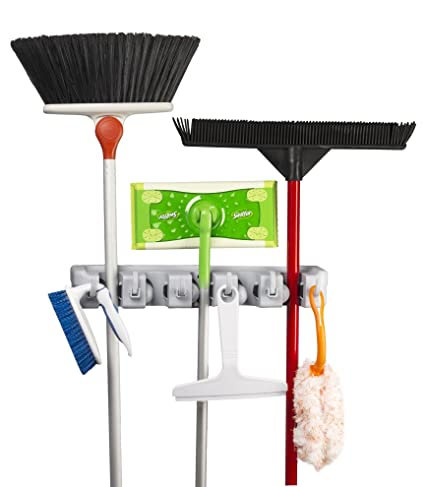 Spoga Wall Mounted Mop, Broom, And Sports Equipment Storage Organizer,  5 Positions