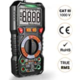 Digital Multimeter TRMS 6000 Counts, LED Intelligent Socket, Manul Ranging Measuring AC/DC Voltage, AC/DC Current, Resistance,Capacitance,Frequency/Duty, Diode test, Continuity test, Temperature + LCD (Color: balck, Tamaño: Intelligent Multimeter-Advanced)