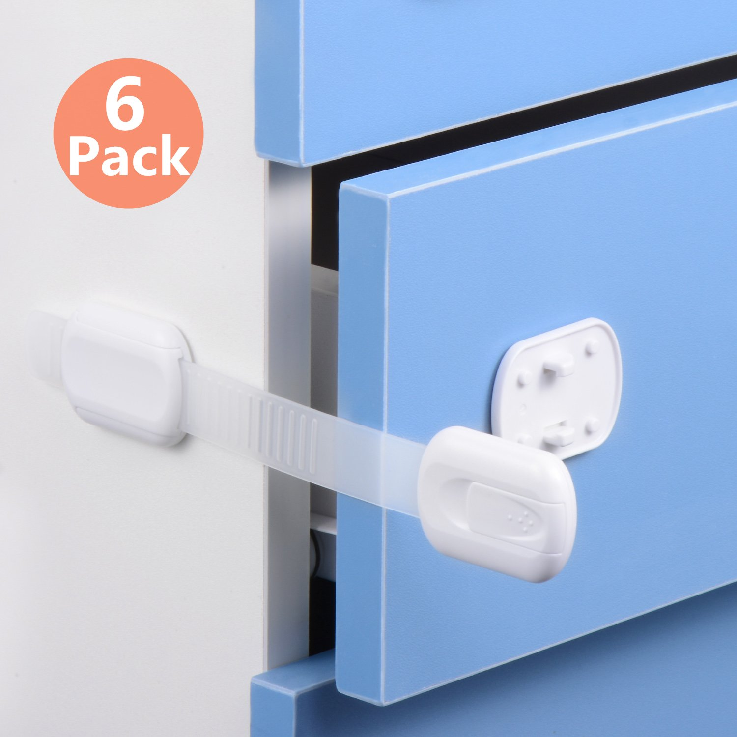 Child Safety Locks,Baby Proof Cabinets Locks,Adjustable Strap and Latch System with  Adhesive,For Drawers, Appliances, Toilet Seat, Fridge and Oven, No Tools or Drilling (6 Pack White)