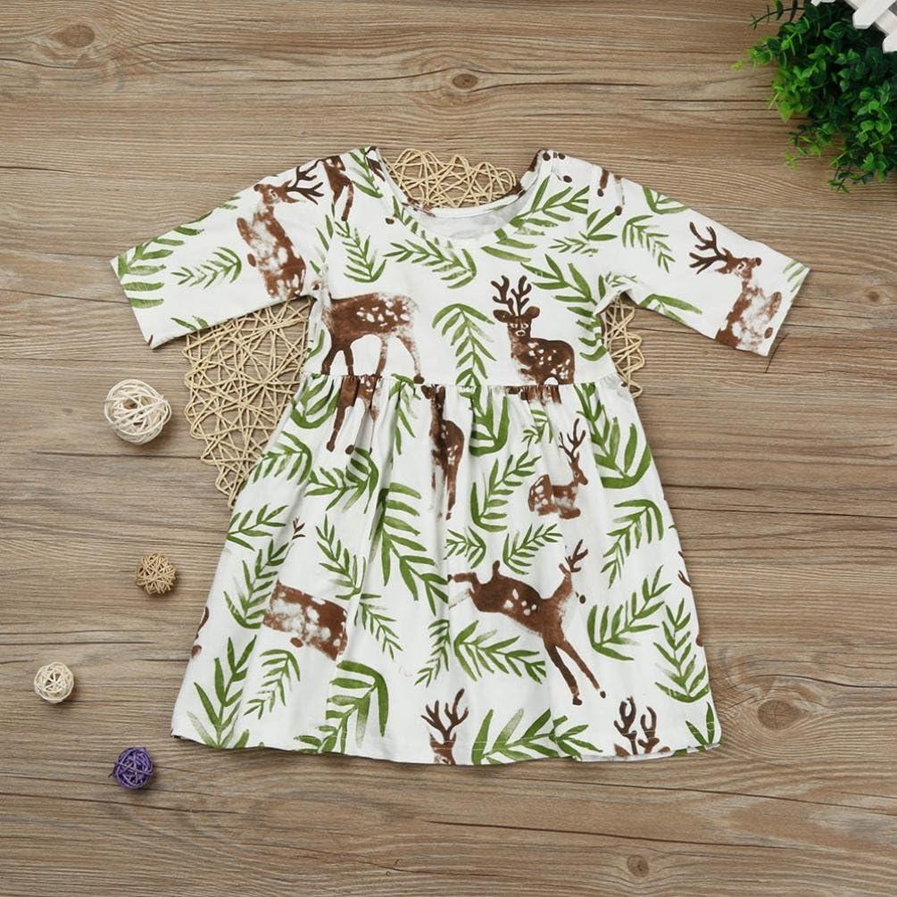 WARMSHOP Toddler Children Girls Half Sleeve Fashion Floral Deer Pattern Cute Princess A-Line Dress