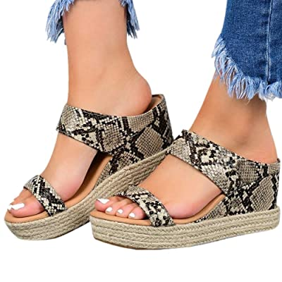 Hosamtel Wedges Shoes for Women Sandals,2020 Summer Open Toe Breathable Beach Sandals Slip-On Straw Casual Wedges Shoes: Clothing