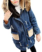 Girl's Classic Jeans Lamb Shearling Faux Fur Hooded Jacket Denim Coat with Pocket