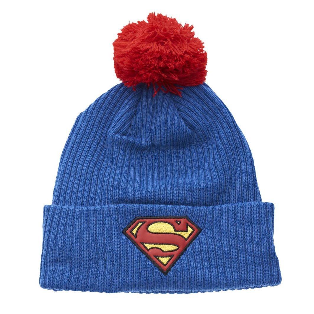e12f4a56fc4 Amazon.com  New Era Superman Bobble Cuff Knit Youth Beanie Mütze Kids DC  Comics Blue  Clothing
