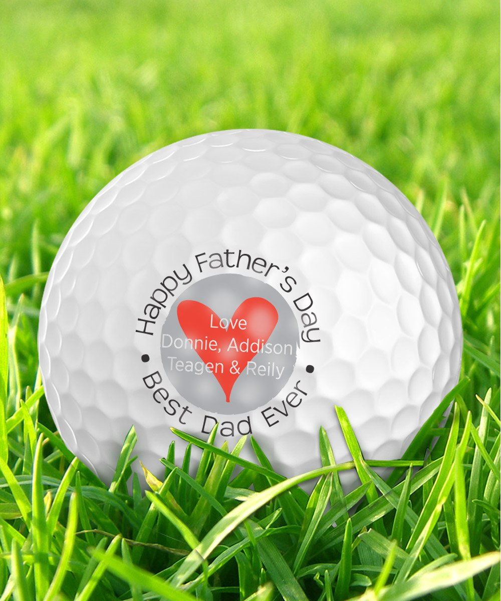 Infusion Father's Day Best Dad Ever Heart Design Golf Balls - Personalize The Kids' Names (12 Balls)