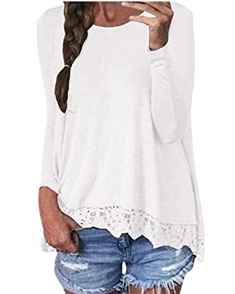ZANZEA Mujeres Damas Oficina Elegante Encaje Blusa Camiseta Casual Cuello Redondo Mangas Largas Blanco EU 36