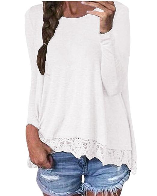 ZANZEA Mujeres Encaje Blusa Camiseta Casual Damas Oficina Elegante Cuello Redondo Mangas Largas Blanco EU 36