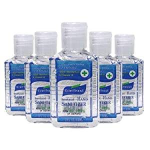 BushKlawz Eco Finest Hand Sanitizer Gel, 5-pack, 75% Alcohol - Rinse Free, Instant Clean with No Water Needed, 2 oz Travel Size
