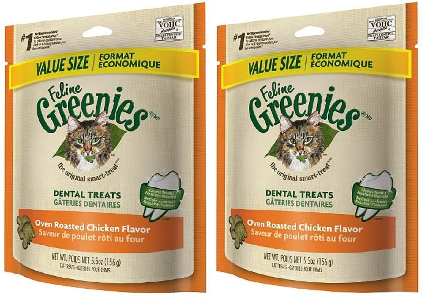 Greenies Feline Dental Treats Oven Roasted Chicken for Cats, 5.5-Ounce