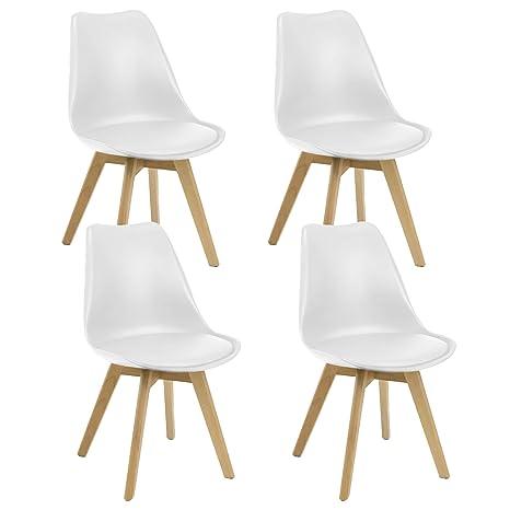 Miroytengo Pack 4 sillas Estilo nórdico salón Comedor Color ...