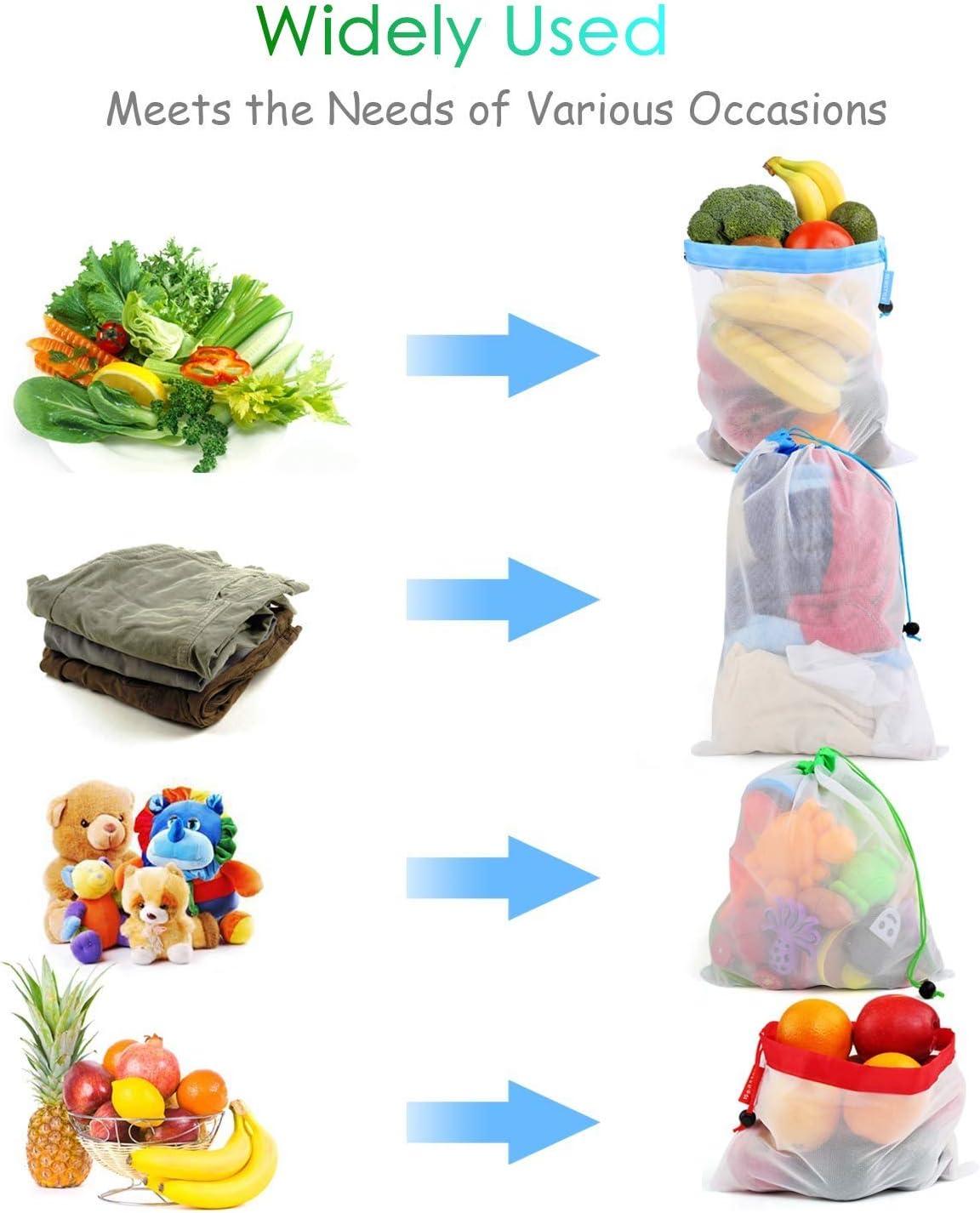 3 Diversos Tama/ños Lavable Transpirable Ventdest 12PCS Bolsas de la Compra Reutilizables Ecol/ógicas Bolsa de Malla Reutilizables para Almacenamiento Fruta Verduras Juguetes