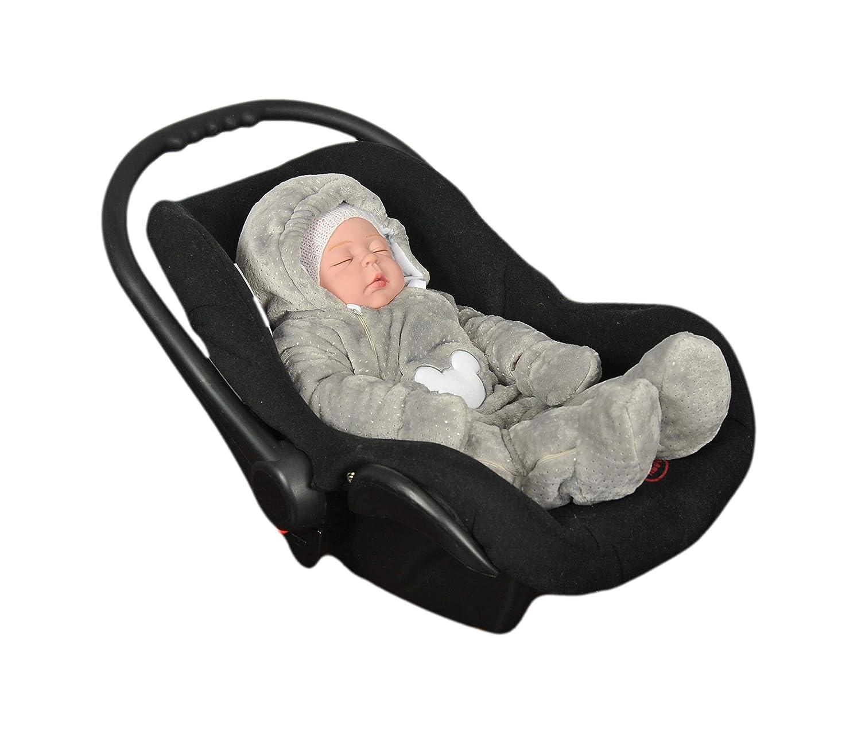Maus Baumwolle und Minky Kuschelstoff Unisex Baby Overall Neugeborene /& Kleinkinder Strampler mit Kapuze 58cm//0-3 Monate, Grau MoMika Baby Strampler