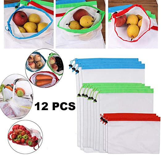 12 Reusable Mesh Produce Lightweight Washable Durable Bags with Tare Weight Tags