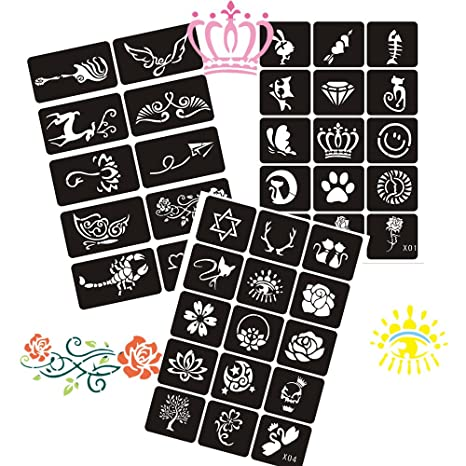 Plantillas de tatuaje con 6 hojas para aerógrafo Henna, pintura ...