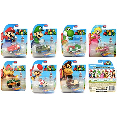 Hot Wheels 2020 Set of 7 Super Mario 1/64 Character Cars Collectible Die Cast Toy Car Models: Toys & Games