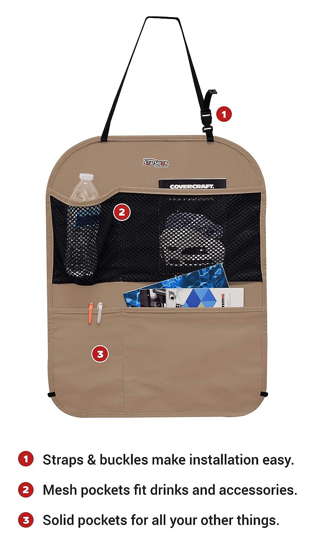 Covercraft SBK1001PCCH Polycotton Seatback Organizer Charcoal Black