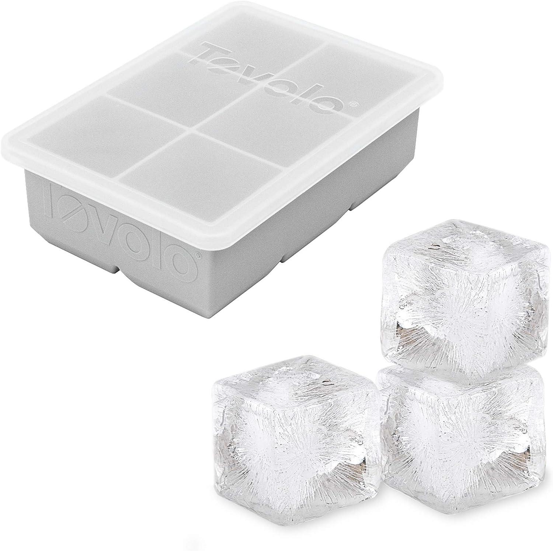 "Tovolo 22021-201 King, XL Lid 2"" Whisky & Spirits, BPA-Free Silicone, Dishwasher-Safe Ice Cube Tray, Single, Oyster Gray"