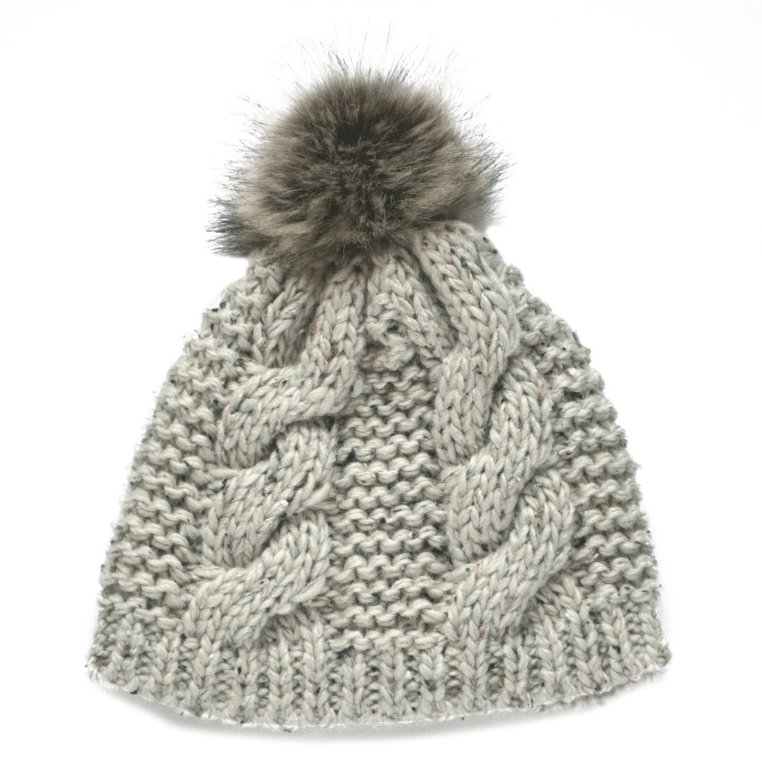 Fur Bobble Knit Hat Ladies Oatmeal Fleck from Ireland Patrick Francis