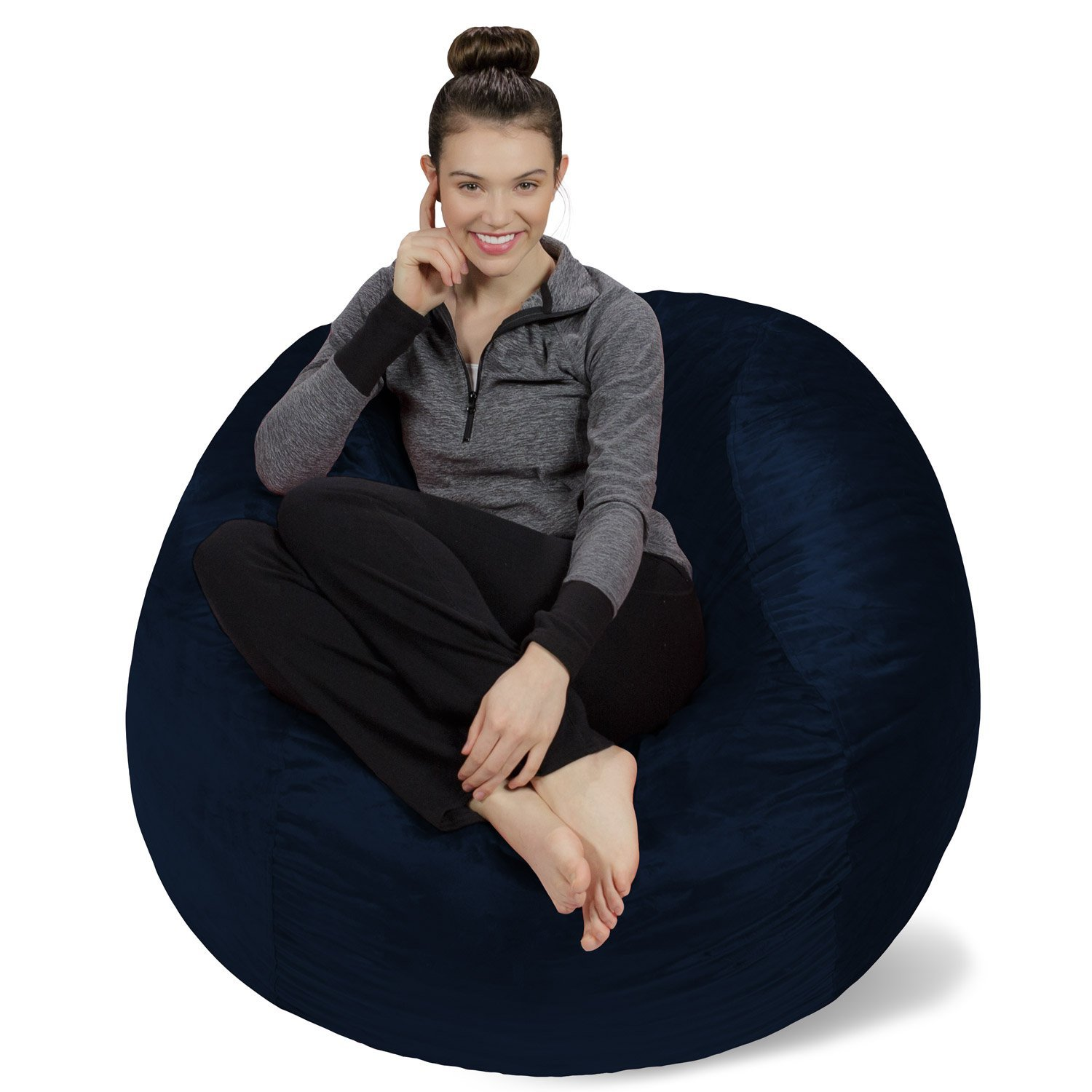 Sofa Sack - Plush, Ultra Soft Bean Bag Chair - Memory Foam Bean Bag Chair with Microsuede Cover - Stuffed Foam Filled Furniture and Accessories for Dorm Room - Navy 4' by Sofa Sack - Bean Bags