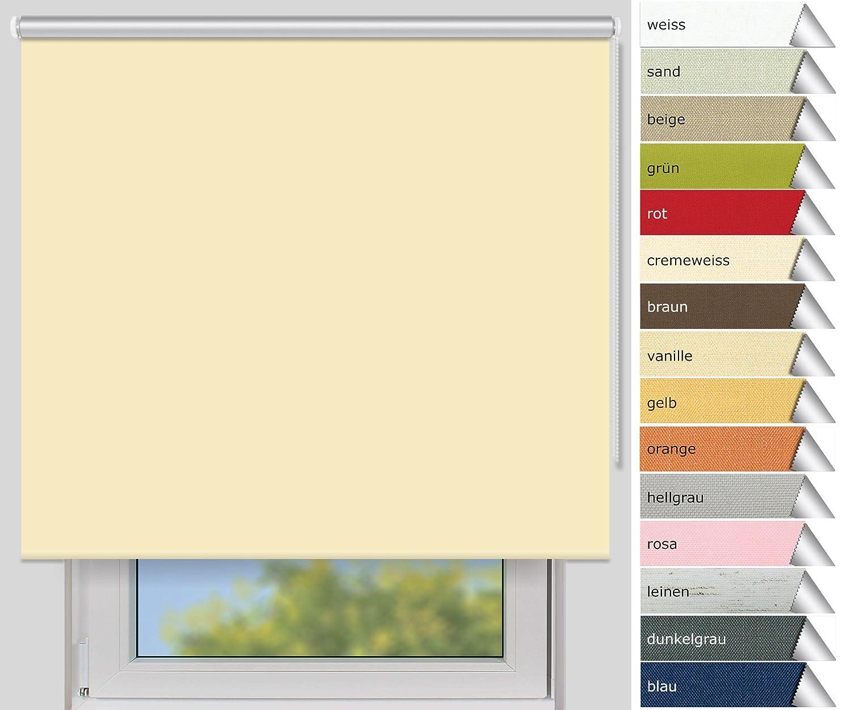 Der Jalousienladen EFIXS Thermorollo Maxi - 32 mm Welle - Farbe  vanille - Größe  240 x 190 cm (Stoffbreite x Höhe) - Hitzeschutzrollo - Verdunklungsrollo - weitere Größen im Angebot wählbar