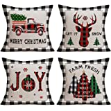 Christmas Buffalo Plaid Pillow Covers Set of 4 Cotton Linen Xmas Farmhouse Decor Throw Pillow Case Farm Fresh Christmas…