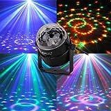 CroLED Eclairage de Scène Lumière Lampe Soirée, Mini Projecteur Scene Spot Ampoule 3LED RGB RVB Boule Cristal à Commande Sonore AC100-240V Ambiance festive DJ KTV