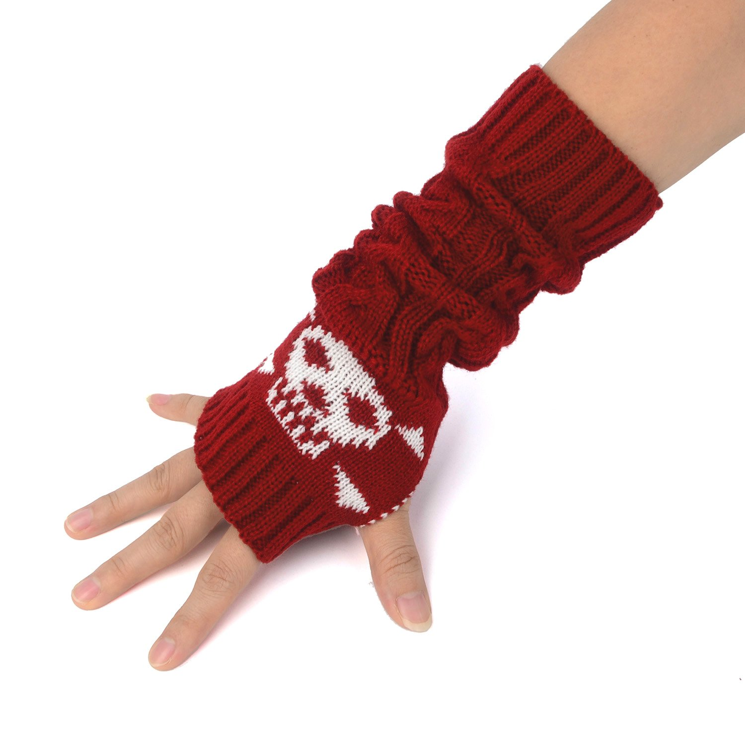 Zeltauto Unisex Knitted Arm Warmer Fingerless Thumbhole Gloves Acrylic Fiber