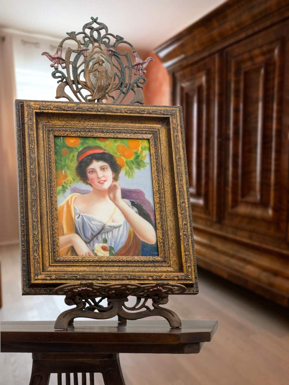 ORIGINALE dipinto Signora Fiore arance restaurando CON CORNICE QUADRO OLIO ANTICO-stile 38cm
