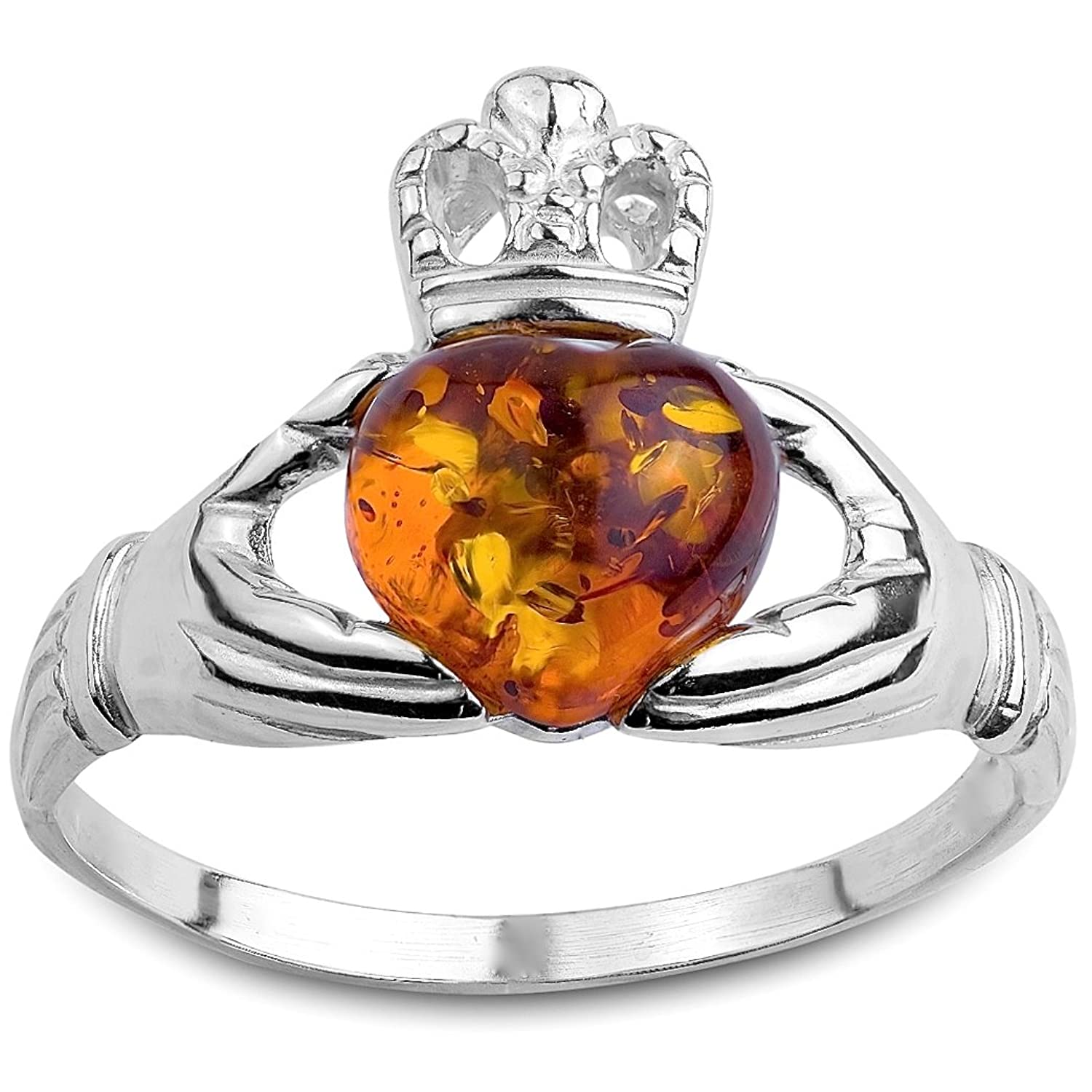 sterling irish amber engagement claddagh silver and amazon com honey jewelry rings dp ring