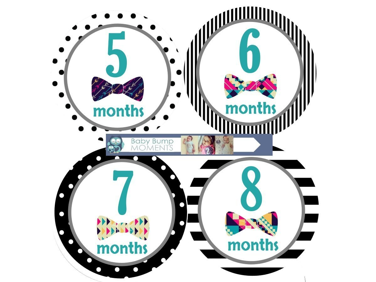 Baby Monthly Milestone Stickers by BabyBumpMoments | Set of 12 Bow Tie Baby Stickers for First Year | New Baby Gift